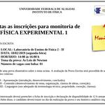 Abertas as inscrições para monitoria de FÍSICA EXPERIMENTAL 1